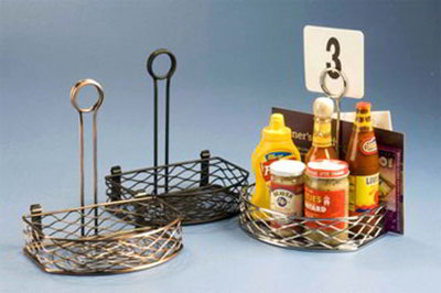 American Metalcraft SRBNC2 Semi Round Condiment Rack w/ Flat Back, Wire/Chrome