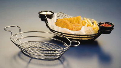 American Metalcraft SSOV1180 Oval Basket w/ Built In Ramekin Holder,