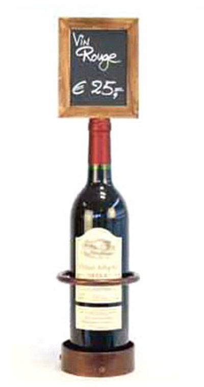 American Metalcraft WBWR1 Wine Bottle Display w/ Chalk Board, 5x19-in, Cop