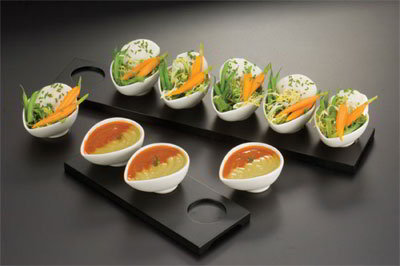 American Metalcraft WCT6 Rectangular Tray w/ 6-Indentations For Egg Shape Sauce Cup, Wood/Black
