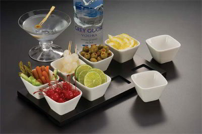 American Metalcraft WCT8 Rectangular Tray w/ 8-Indentations For Square Sauce Cup, Wood/Black