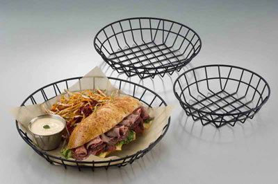 American Metalcraft WIB80 8-in Wire Basket, Black