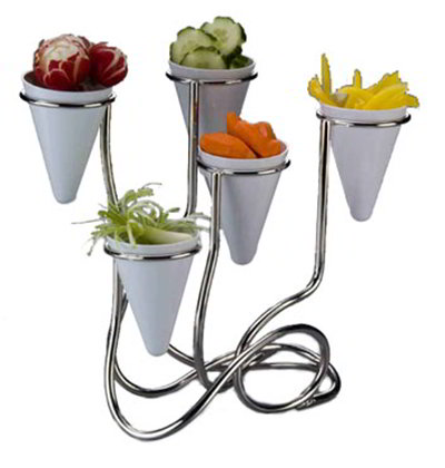 American Metalcraft WS5 Twisted Fry Cone Stand w/ 5-Cone Capacity, Stainless
