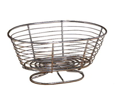 American Metalcraft OBC107 Oval Basket w/ Pedestal Base, Wire/Chrome