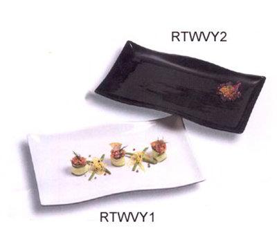 American Metalcraft RTWVY1 Rectangular Platter w/ Wavy Design, Ceramic/White