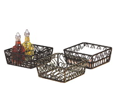 American Metalcraft SBS70 7-in Square Basket w/ Scroll Design, Wrought Iron/Black