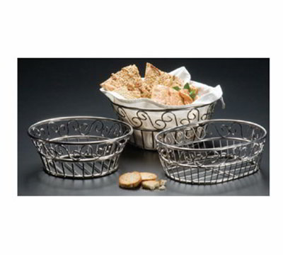 American Metalcraft SSOC97 Oval Bread Basket w/ Scroll Design, Stainle