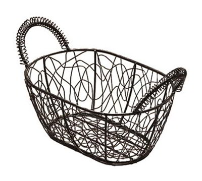 American Metalcraft AWB96 Scribble Basket 9 in x 6 in Oval Black Wire With Gold Pattern Restaurant Supply