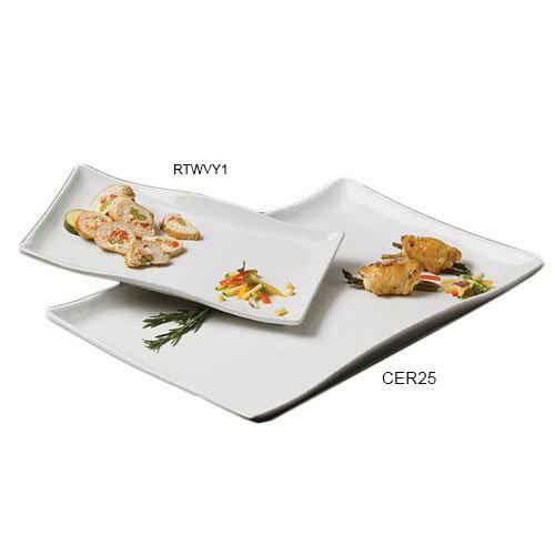 American Metalcraft CER25 Platter 21 in x 13-1/2 in Rectangular Wavy Ceramic White Restaurant Supply
