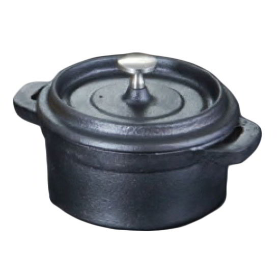 American Metalcraft CIPR42 8.3 oz Round Baking Dish w/ Lid & Handles 4 in dia. x 2 in H Cast Iron Restaurant Supply