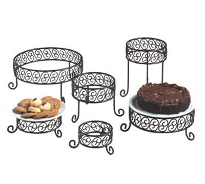 American Metalcraft RRSS9 Ironworks Display Riser, Set, Round, Scroll Design, Black Wrought Iron
