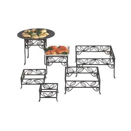 American Metalcraft SLRS7 Ironworks Display Riser Set Square Leaf Design Black Wrought Iron Restaurant Supply