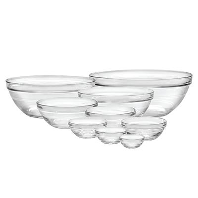 Duralex 100009 9 Piece Lys Bowl Set w/ Stackable Rim, Clear