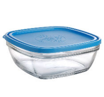 Duralex 520000S01 Set of Five Lys Square Bowls w/ Lids, 5.375, 10, 20, 36 & 68 oz