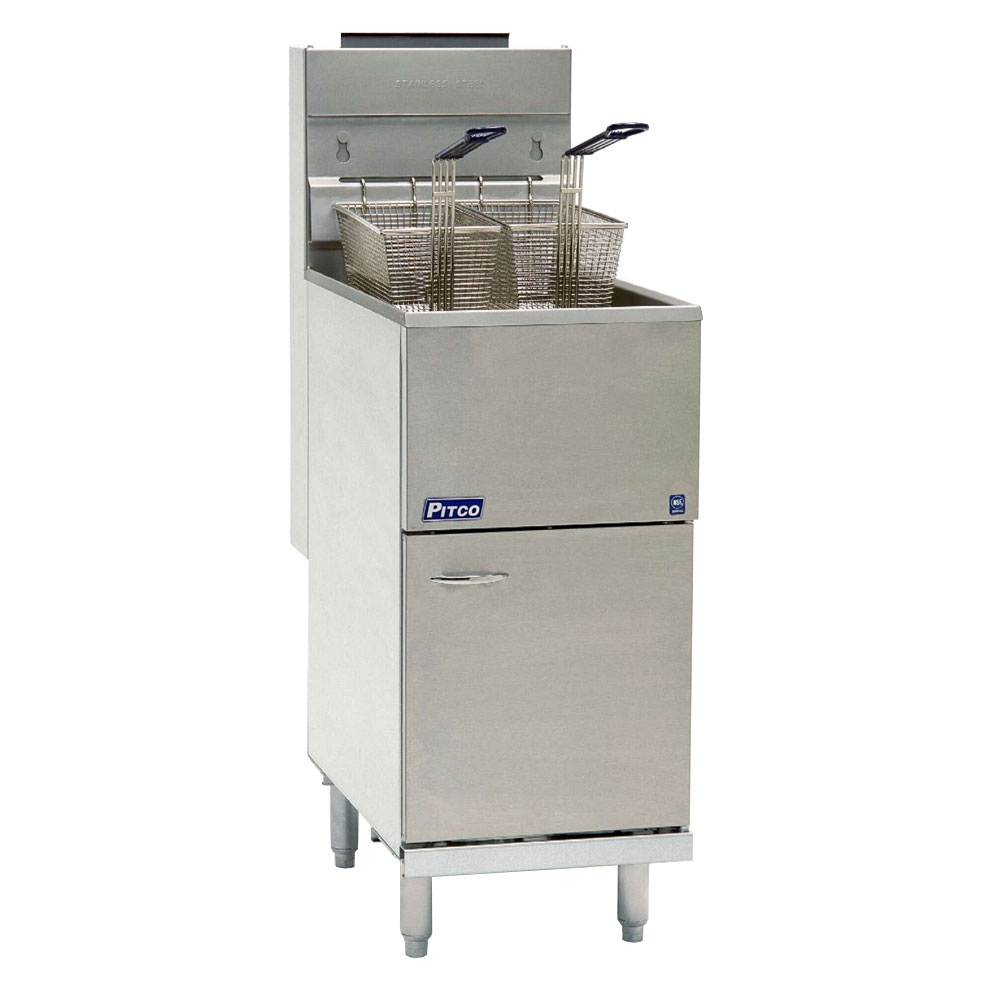 Pitco 40DNG Fryer, 40-45 lb Capacity, SS Tank, Front & Door, Thermostatic Controls