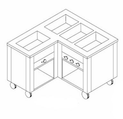 Dinex DXDHF5LL 208 77-in Left L-Shape Hot Food Counter w/ 5-Wells, Open Base, 208 V