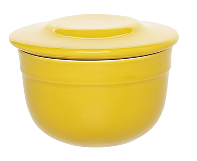 Emile Henry 038621 6 oz Ceramic Butter Pot With Lid, 4 in Diameter, Citron Yellow