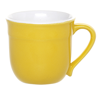 Emile Henry 038714 14 oz Ceramic Mug, Two-Tone, Citron Yellow