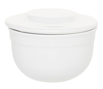 Emile Henry 058621 6 oz Ceramic Butter Pot With Lid, 4 in Diameter, Blanc White
