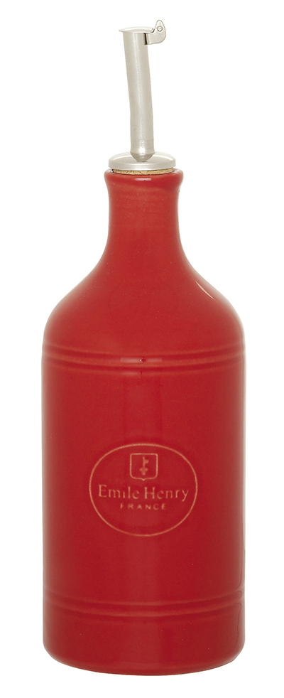 Emile Henry 330215 EA Ceramic Oil Cruet, Cerise Red