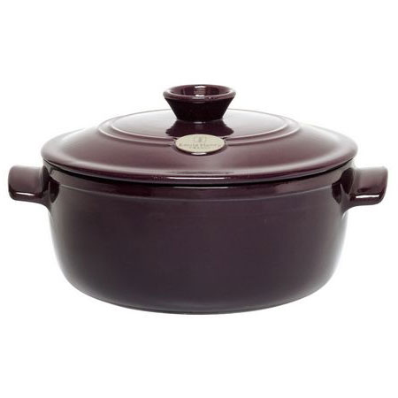 Emile Henry 374540 4-1/5 qt Ceramic Flame Top Round Stew Pot With Lid, Figue Purple