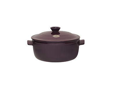 Emile Henry 374553 5-1/2 qt Ceramic Flame Top Round Stew Pot With Lid, Figue Purple