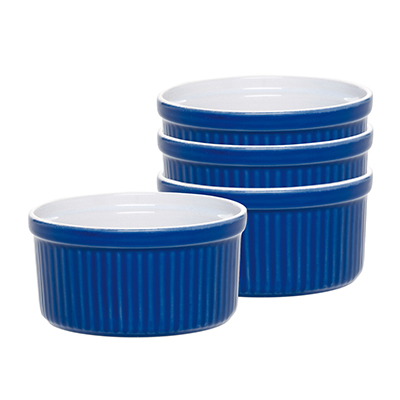 Emile Henry 539840 6 oz Ceramic Stackable Ramekin, Two-Tone, Azure Blue
