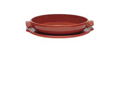 Emile Henry 613599 Ceramic Flame Top Tart Tatin Set, Red