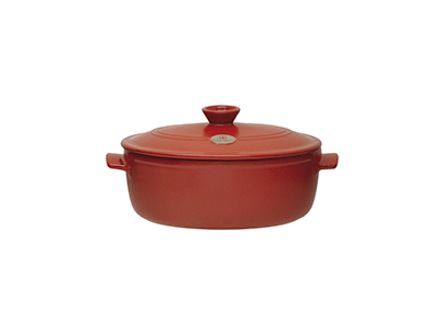 Emile Henry 614547 4-9/10 qt Ceramic Flame Top Oval Stew Pot With Lid, Red