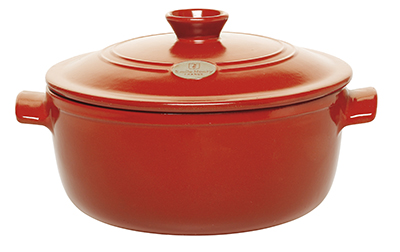 Emile Henry 614553 5-1/2 qt Ceramic Flame Top Round Stew Pot With Lid, Red