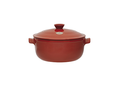 Emile Henry 614570 7 qt Ceramic Flame Top Round Stew Pot With Lid, Red