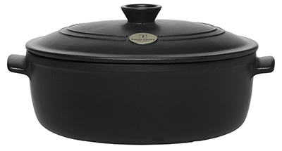 Emile Henry 714560 6-3/10 qt Ceramic Flame Top Oval Stew Pot With Lid, Black
