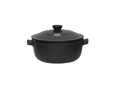 Emile Henry 714570 7 qt Ceramic Flame Top Round Stew Pot With Lid, Black