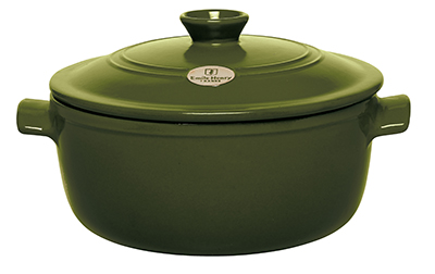 Emile Henry 87 45 53 5.5-qt Round Ceramic Flame Top Stew Pot w/ Lid, Olive