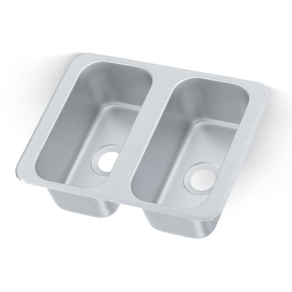 "Vollrath 12065-2 Yukon Vending Cart Drop In Sink, Dbl Bowl, 17x13"", 5"" D"
