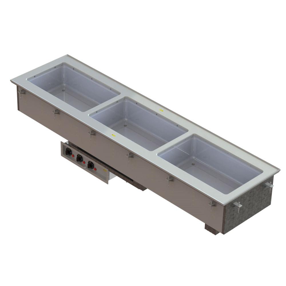Vollrath 3664920 Three-Well Hot Short Drop-In Infinite Controls Manifold Drains 208-240 V Restaurant Supply