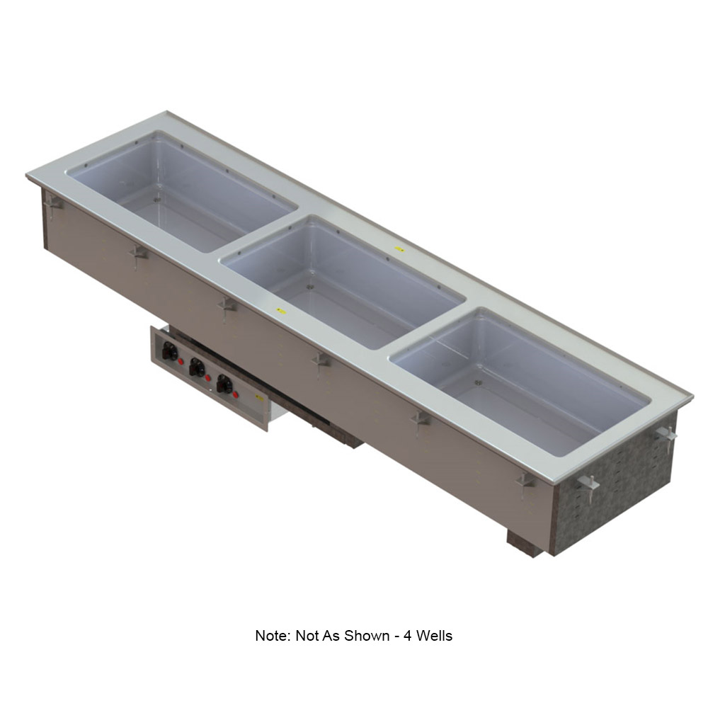 Vollrath 3665020 Four-Well Hot Short Sided Drop-In Manifold Drains 208-240 V Restaurant Supply
