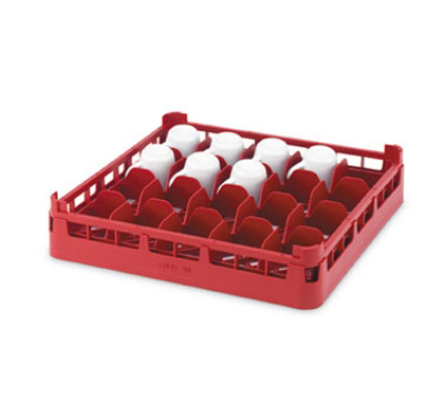 "Vollrath 52674 Dishwasher 16-Cup Rack - Short, Full-Size, 19-3/4x19-3/4"" Red"