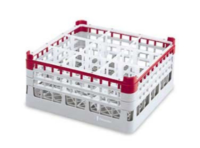 "Vollrath 52763 3 Dishwasher Rack - 9-Compartment, X-Tall Plus, Full-Size, 19-3/4x19-3/4"" Red"