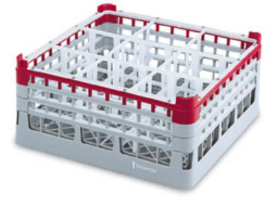 "Vollrath 52771 3 Dishwasher Rack - 16-Compartment, 3X-Tall Plus, Full-Size, 19-3/4x19-3/4"" Red"