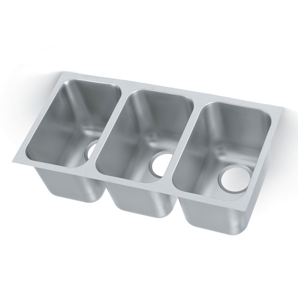Vollrath 9103-1 3-Compartment Super Heavy Weight Drop-In Sink w/ Square Corners
