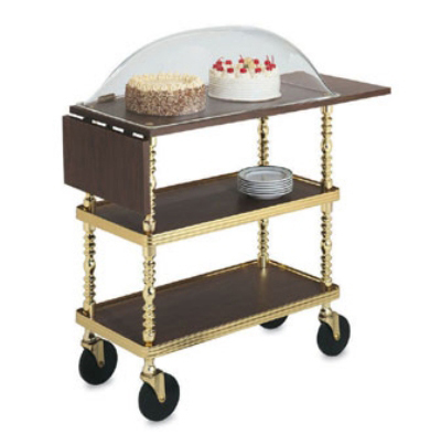 Vollrath 97008 Sculptura Dessert Trolley w Dome Woodgrain 3 Shelf 38 in L Restaurant Supply