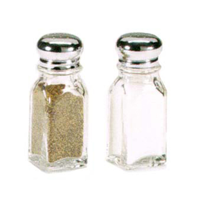 Vollrath 202-12 2-oz Salt/Pepper Shaker - Square, Chrome Cap, Glass