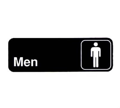 "Vollrath 4515 Men Sign - 3x9"" White on B"