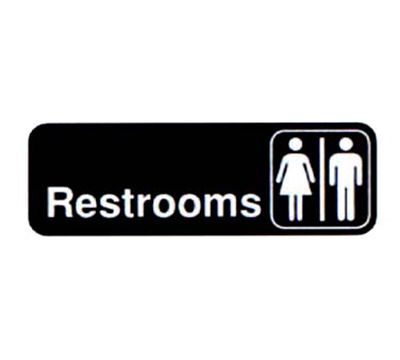 "Vollrath 4517 Restrooms Sign - 3x9"" White"