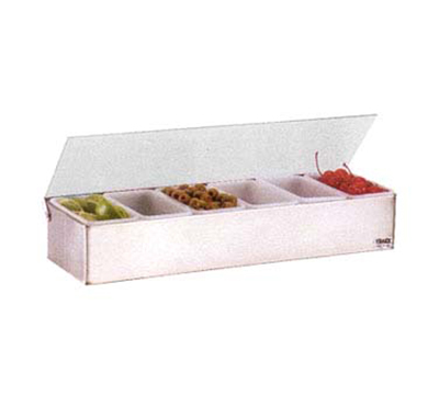 "Vollrath 4702 6-Pt Condiment Dispenser - 18x6x3-1/4"", Plastic Lid, Stainless"