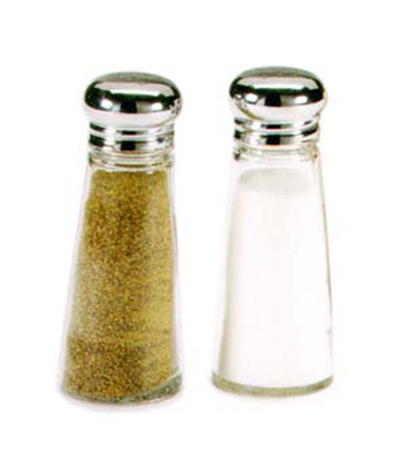 Vollrath 703 3-oz Salt/Pepper Shaker - Stainless Cap, Glass