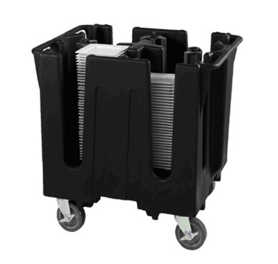 Vollrath SAC-2-06 Small Dish Caddy with Cover - Adjustable, 2 Posts, 4 Stacks, Black