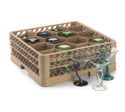 Vollrath TR-18JJJ Full-Size Glassware Rack - 12-Compartment, 3-Extenders, Beige
