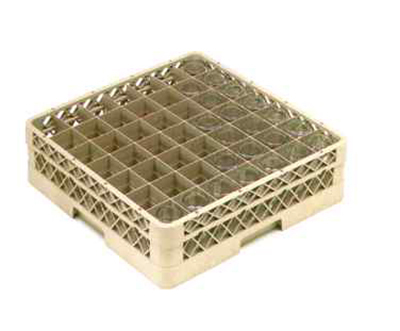 Vollrath TR-9E Full-Size Glassware Rack - 49-Compartment, 1-Extender, Beige